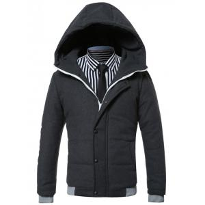 Hooded Rib Splicing Design Zip-Up Padded Jacket
