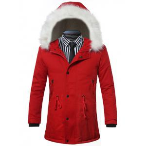 Furry Hood Drawstring Zip Up Padded Coat