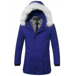 Furry Hood Drawstring Pockets Zip-Up Padded Coat - Blue - M