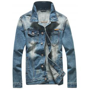 Scratched Button Up Skull Printed Denim Jacket - Blue - 2xl