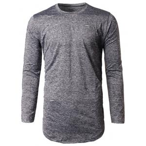 Long Sleeve Heather Distressed T-Shirt