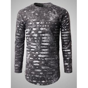Long Sleeve Heather Frayed T-Shirt