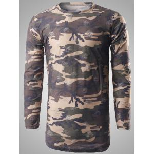 Round Neck Long Sleeve Distressed Camo T-Shirt - Coffee - M
