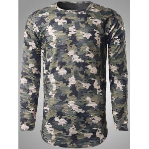 Long Sleeve Destroyed Camo T-Shirt - Green - Xl