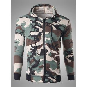 Zip Up Pocket Design Camouflage Hoodie - Off-white - L