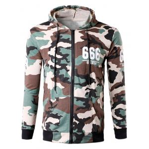 Zip-Up 666 Print Camouflage Hoodie - Off-white - L