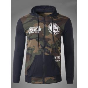 Zip-Up Skeleton Print Camouflage Hoodie