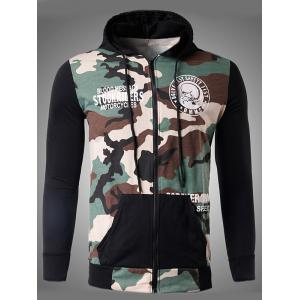 Zip-Up Skeleton Print Camouflage Hoodie - Off-white - Xl