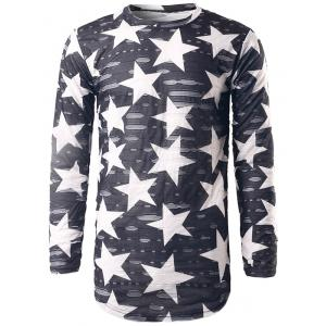 Long Sleeve Star Print Destroyed T-Shirt