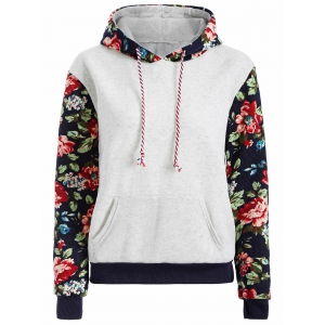 Floral Print Front Pocket Preppy Hoodie - Grey White - L