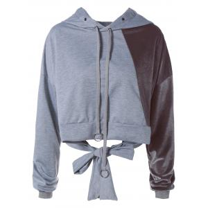 Color Block Long Sleeve Thin Wrap Hoodie - Gray - S