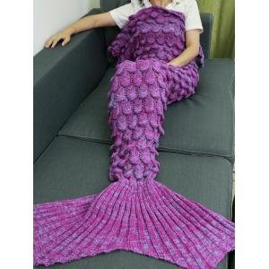 Knitting Fish Scales Design Mermaid Tail Style Blanket - Light Purple - One Size(fit Size Xs To M)