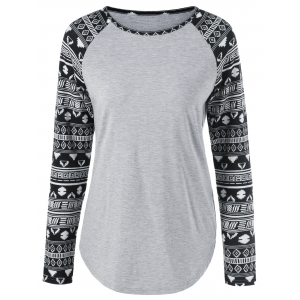 Tribal Print Sleeve T-Shirt - Light Gray - Xl
