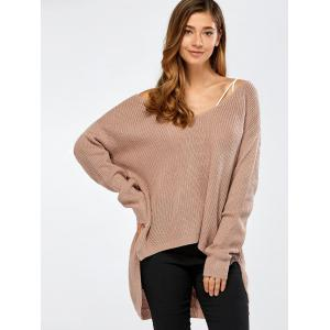 Skew Collar Drop Shoulder High Low Sweater