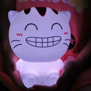 USB Rechargeable Cartoon Happy Cat Colorful Remote Control Night Light - WHITE
