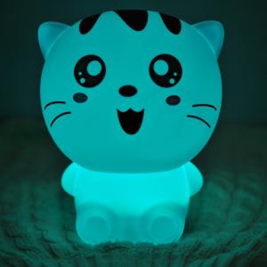 USB Cartoon Rechargeable Lovely Cat Colorful Télécommande Night Light - Blanc