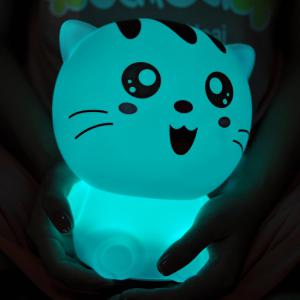USB Rechargeable Cartoon Lovely Cat Colorful Remote Control Night Light -