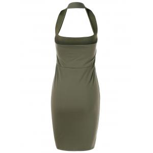 Backless Halter Club Sheath Dress - ARMY GREEN XL