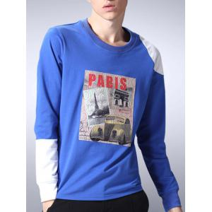 Crew Neck Long Sleeve Printed T Shirt -