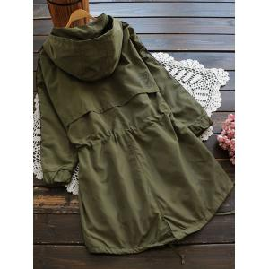 Hooded Drawstring Field Trench Coat -