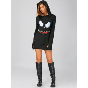 Long Sleeve Mini Halloween Hoodie Dress - BLACK M