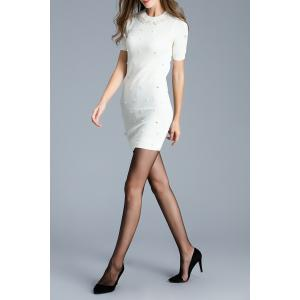 Short Sleeve Faux Pearl Knitted Dress -