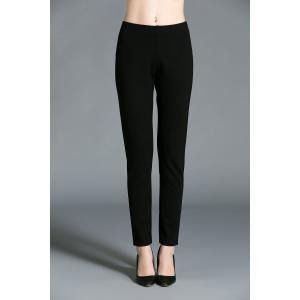 Pencil Elastic Waist Pants - Black - L