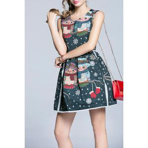 Snowflake Owl Pattern Flare Dress