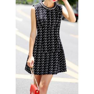 Mini A Line Sleeveless Dress - BLACK S