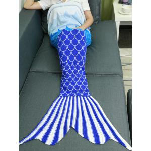 Ombre Color Knitting Fish Scales Design Mermaid Tail Style Blanket -