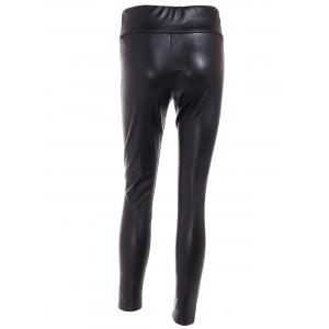 High Waist Buttoned PU Leather Leggings -