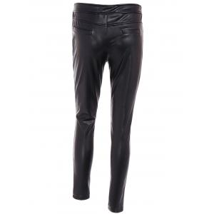 High Waist Buttoned PU Leather Pants - BLACK 3XL