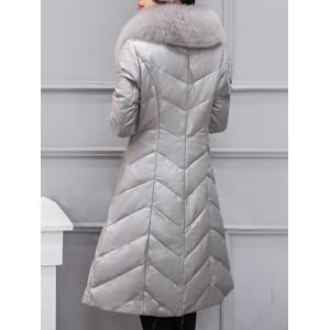 Fur Collar PU Leather Quilted Coat -