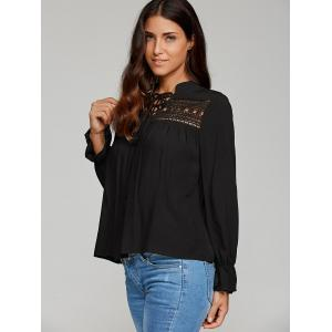 Lace-Up Hollow Out Blouse -