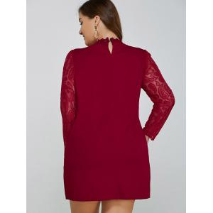 See-Through Lace Spliced Shift Dress -