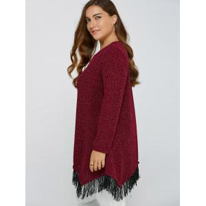 Asymmetric Gilding Fringed Blouse - DEEP RED 4XL