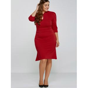Skinny Pleated Fishtail Design Bodycon Dress - RED 2XL