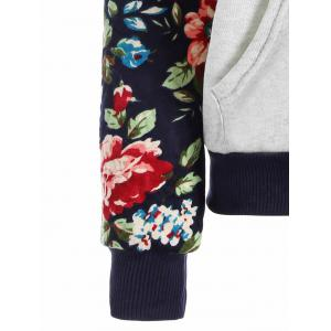 Floral Print Front Pocket Preppy Hoodie - GREY WHITE L