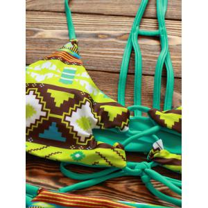 Halter Cut Out Double Side Bikini Set - GREEN L