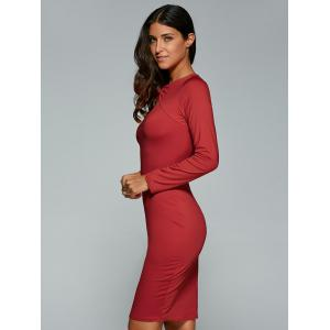 Long Sleeve Twisted Hollow Out MIni Bodycon Dress - RED L