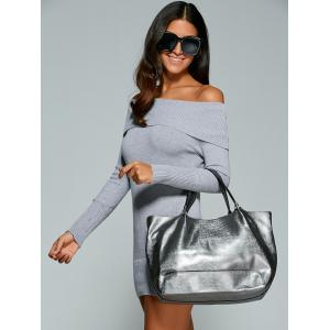 Off The Shoulder Bodycon Short Jumper Dress - GRAY ONE SIZE