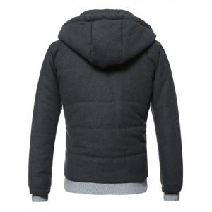 Hooded Rib Splicing Design Zip-Up Padded Jacket - DEEP GRAY 3XL