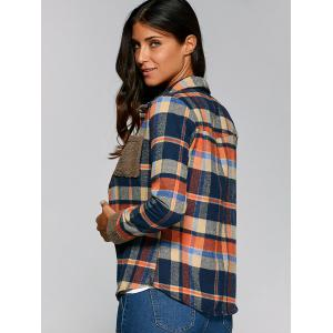 Pocket Design Plaid Velvet Lining Shirt - DEEP BLUE 2XL