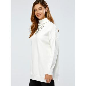 Drop Shoulder Turtleneck Pullover Long Sweater - WHITE ONE SIZE
