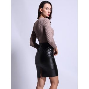High Waist Faux Leather Back Slit Pencil Skirt - BLACK S