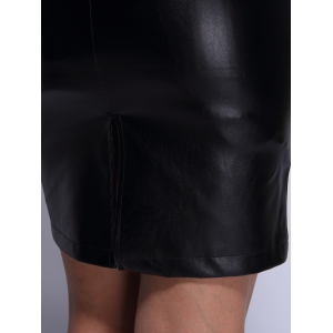 High Waist Faux Leather Back Slit Pencil Skirt - BLACK L