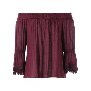 Pleated Bell Sleeve Blouse -