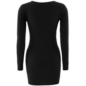 Short Slimming T-Shirt Dress With Long Sleeves - BLACK M