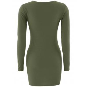 Short Slimming T-Shirt Dress With Long Sleeves -