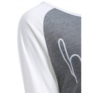 Color Block Happy Print T Shirt - GREY AND WHITE 3XL
